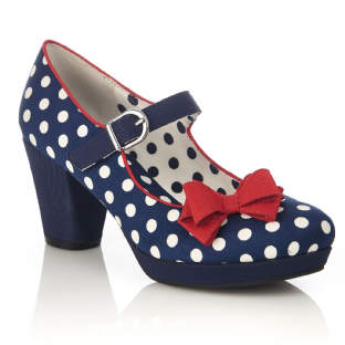 Ruby Shoo Crystal Navy Spots Shoes